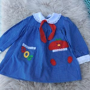 Vintage toddler dress 3t gorgeous! Blue stripes
